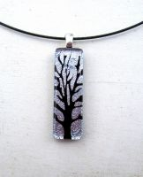 Silver Fused Glass Tree of Life Necklace Pendant by FusedElegance