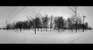 Winter Panorama of the Peace Street by NorbertKocsis