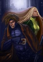 Gambit and Rogue by Xiven