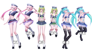 [MMD] Jumping Sailors [Pose Download] by MinuzNegative