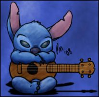 Stitch and his Ukulele by KiriA500