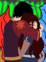Zutara Embrace Colored- The sun and moon. by UnusSicutIgnisEtAqua
