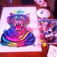 Experimentation with ink Tiger by IridescentArt1996