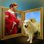 Lady in red and white dog by marioabelino