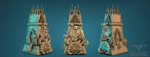 Cthulhu Chess Set: The Rook By Sergio Mengual by SergioMengual2012