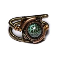 Steampunk Ring Green Fire by CatherinetteRings