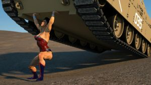 Wonder Woman lifts a tank by DahriAlGhul