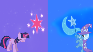 Twilight Sparkle vs Trixie, wallpaper version. by Flutterflyraptor