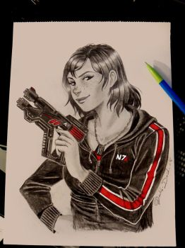 Mass effect - Jane Shepard by BlueAquarelle