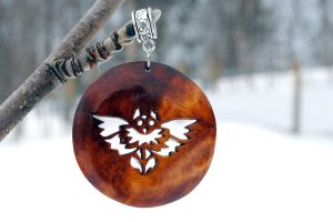 Owl design pendant on birch burl. Rare by JOVictory