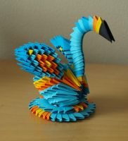 + Small Blue Swan (3D Origami) by Denierim