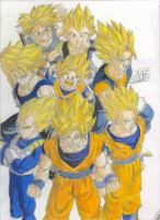 dragon ball z super saiyans by Chronamut
