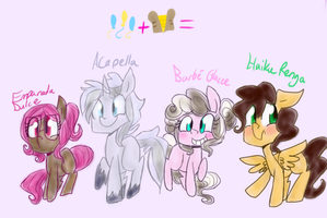 Four offspring of some of the biggest dorks ever by BubblyTeddy