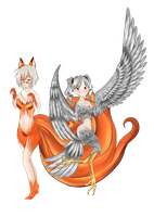Commission - Kitsune and Harpy- nohiddenpurpose by Luxianne
