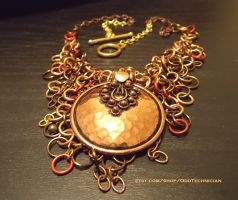Copper Medallion Chainmail Necklace (4) by ulfchild