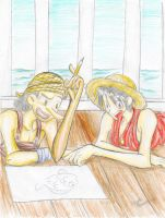 Drawing -Usopp and Luffy- by Dreamwish