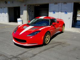 red white Lotus Evora front by Partywave