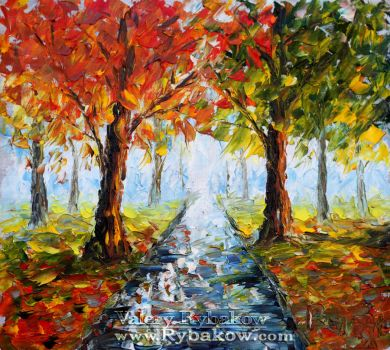 Landscap oil painting IMPASTO by rybakow