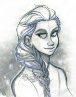 Iced Elsa Sketch by IreneMartini