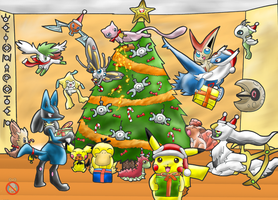 Pokemon Christmas by shadowhatesomochao