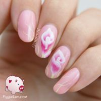 Pink calla lily one stroke nail art by Marinaatje