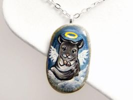 Chinchilla Angel Pendant Necklace by sobeyondthis