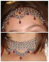 Chainmaille necklace+headband by Marubaii
