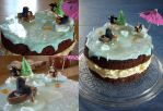 Frozen Lake Christmas Cake by InvisibleSnow