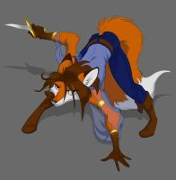 Crouching Fox, cell-shade by Foxenawolf