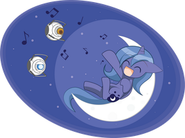 Commission Singing on the moon by HowXu