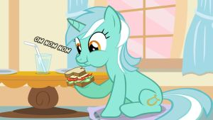 Lyra enjoying her sandwich by TriteBristle