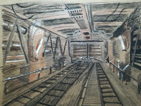 One point perspective sketch by Andrix9743