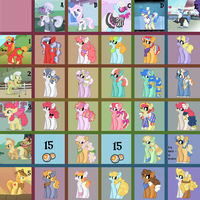 3 LEFT MLP Adopts: Opposites Attract Mystery Grid by xXOffOnATangentXx