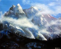 Oil Paint - Mountains by angelaalee