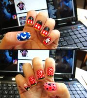 Mickey and Minnie Nails by tharesek