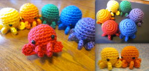 Wee Lil Octopus Rainbow Amigurumi by Spudsstitches
