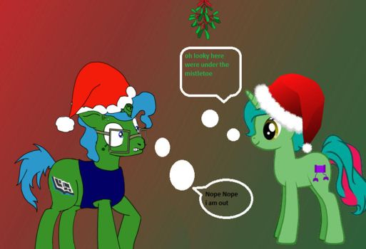 under the mistletoe with a good friend by mego21