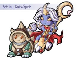 Chibi - Rammus-Soraka by GainaSpirit
