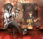 Jeff the killer- Hey kid! Don't you sleep? by LouaSmourbif