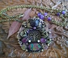 Tree of Life Amethyst and Dichroic by EnchantedTokenArt