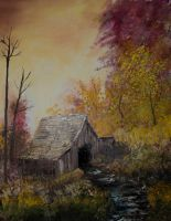 Shed with Trees by thudjie
