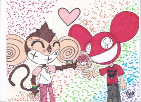 Stitches and Deadmau5 Share a Cupcake by RageTheHedgehog