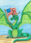 Wave your flag Dragon ACEO by The-GoblinQueen