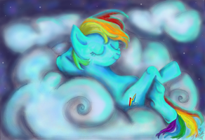 Rainbow Dash Dreaming by tessieart333