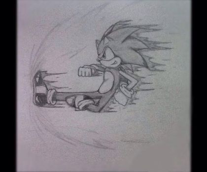 Sonic: Side-ways Kick (pencil drawing) by Super-Sonic-Boom12