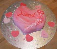 Very pink love heart cake by Shoshannah84
