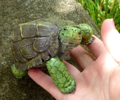 Polymerclay Turtle sculpture by MysticReflections