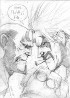 Hellboy vs Lobo WIP by FlowComa
