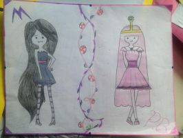 Princess Bubblegum and Marceline by karebear1012