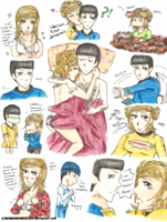 TOS: Spock and Fem!Kirk Doodles 2 by MANGAMANIAC666